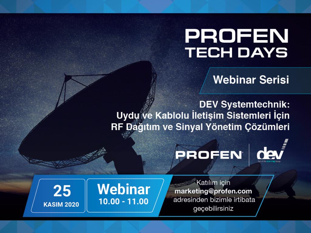 Profen Tech Days - Uydu ve Kablolu İletişim Sistemleri için RF Dağıtım ve Sinyal Yönetim Çözümleri Webinarı